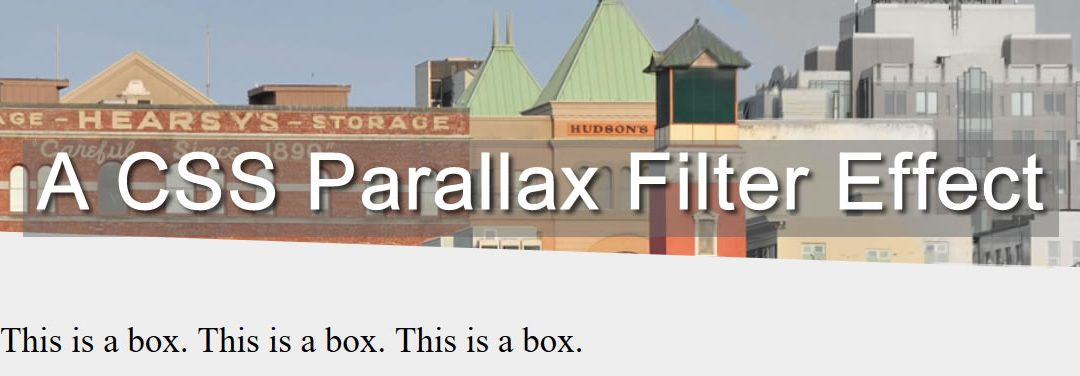 CSS: A Filter on Parallax